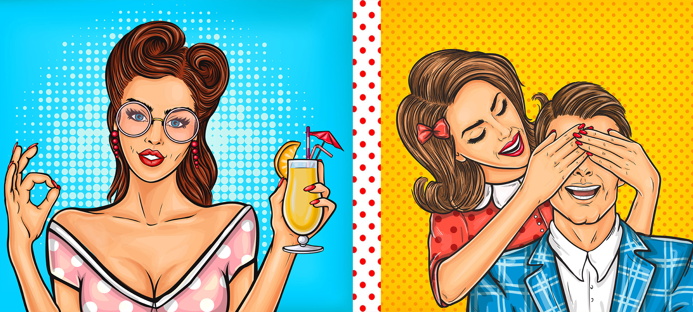 Left image Girl with Cocktail on blue Right image Woman with hands covering man's eyes